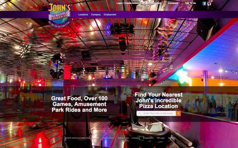 Screenshot of Home Page johnspizza.com - Find a John's Location     John's Incredible Pizza Company - captured Jan. 23, 2015