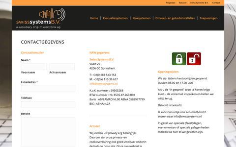 Screenshot of Contact Page ontruimingen-klokken-versterkers.nl - Contactgegevens - Swiss Systems B.V. - Adres, mailadres, telefoonnummer - captured Oct. 18, 2018