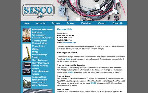 Screenshot of Contact Page sesco.com - Contact Us: Wire Harness, Electrical Contract Manufacturing | SESCO - captured Oct. 3, 2014