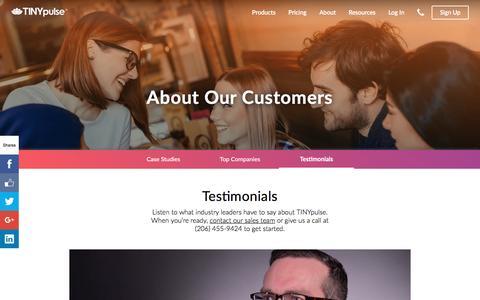 Screenshot of Testimonials Page tinypulse.com - Customer Testimonials | TINYpulse - captured Dec. 27, 2016