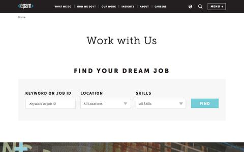Screenshot of Jobs Page epam.com - Careers - captured Jan. 5, 2018