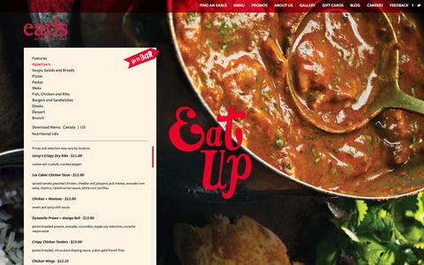 Screenshot of Menu Page earls.ca - Earls Appetizers. Earls Restaurants - captured Sept. 22, 2014
