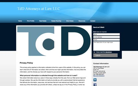 Screenshot of Privacy Page tdd-law.com - Privacy Policy | TdD Attorneys at Law LLC | St. Louis Missouri - captured Oct. 5, 2014