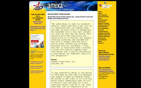 Screenshot of Testimonials Page amixa.com - What our clients say - Client Testimonials // Amixa // - Website design in Greensburg PA, Latrobe, Ligonier, and Bedford - captured Oct. 31, 2014
