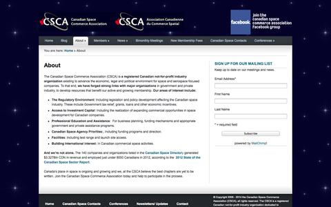 Screenshot of About Page spacecommerce.ca - Canadian Space Commerce Association – An Industry Group to Promote and Support Canadian Businesses |   About - captured Oct. 1, 2014