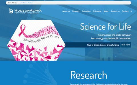 Screenshot of Home Page hudsonalpha.org - HudsonAlpha - captured Oct. 3, 2014
