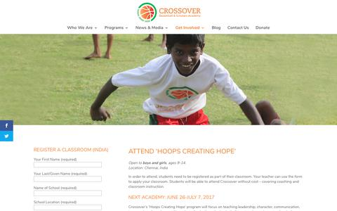 Screenshot of Signup Page crossover-india.org - School Sign up - Crossover India - captured Sept. 15, 2017