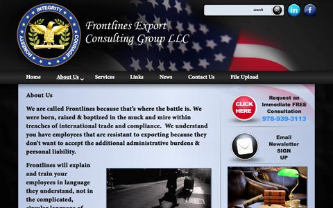 Screenshot of About Page frontlinesllc.com - About Us | Frontlines Export Consulting Group, LLC. - captured Oct. 1, 2014
