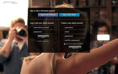 Screenshot of Login Page jaman.com - Sign In - Jaman Movie Discovery - captured Jan. 3, 2016