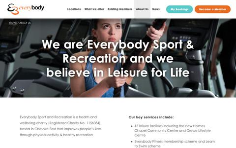 Screenshot of About Page everybody.org.uk - About Us - Everybody Sport & Recreation - captured Sept. 29, 2018