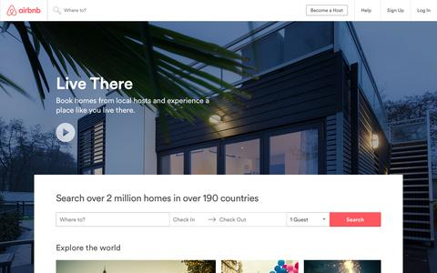 Screenshot of Home Page airbnb.com - Vacation Rentals, Homes, Apartments & Rooms for Rent - Airbnb - captured Oct. 4, 2016