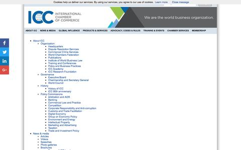 Screenshot of Site Map Page iccwbo.org - ICC - International Chamber of Commerce - captured Oct. 20, 2016