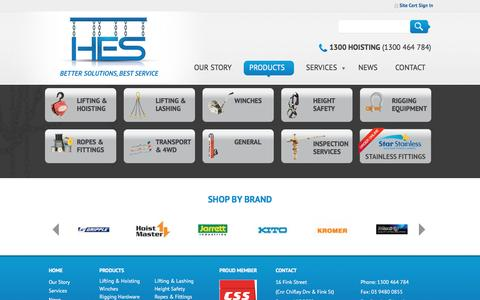 Screenshot of Products Page hesvic.com.au - Product Range | HES - captured Jan. 30, 2016