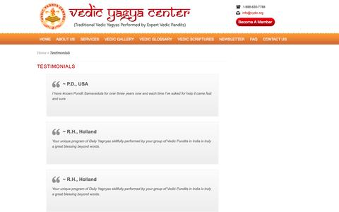 Screenshot of Testimonials Page vedicyagyacenter.com - Testimonials | VedicYagyaCenter - captured Oct. 7, 2014
