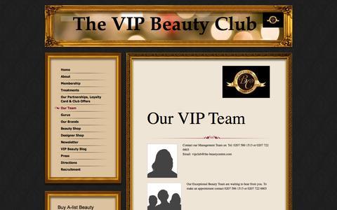 Screenshot of Team Page thevipbeautyclub.com - Our Team - captured Oct. 9, 2014