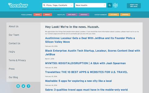 Screenshot of Press Page localeur.com - Localeur   Experience Local Wherever You Go - captured May 13, 2016