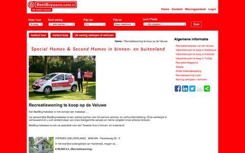 Screenshot of Home Page bestbuymakelaars.nl - Recreatiewoning te koop op de Veluwe - captured Oct. 5, 2014