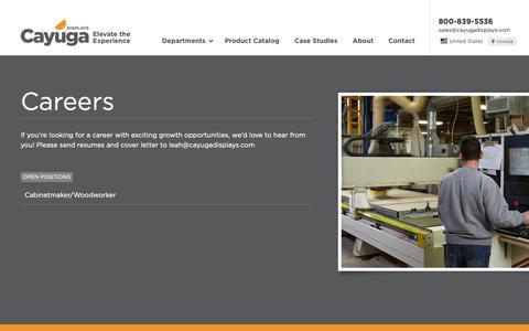 Screenshot of Jobs Page cayugadisplays.com - Careers | Cayuga Displays - captured Sept. 27, 2018