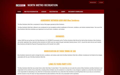 Screenshot of Terms Page northmetrorec.com - North Metro Recreation > Home - captured Oct. 7, 2014