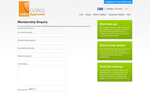 Screenshot of Signup Page corgiapproved.com - Membership Enquiry | CORGI Registered & Approved Tradespeople - captured Oct. 1, 2014