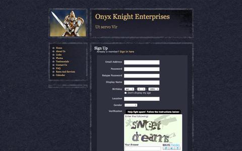 Screenshot of Signup Page webs.com - Signup - Onyx Knight Enterprises - captured Sept. 13, 2014