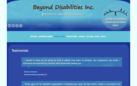 Screenshot of Testimonials Page keithbonchek.com - testimonials - captured Oct. 11, 2017
