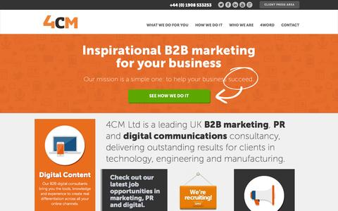 Screenshot of Home Page 4cm.co.uk - Leading UK B2B marketing, PR and digital communications consultancy - captured Sept. 30, 2014