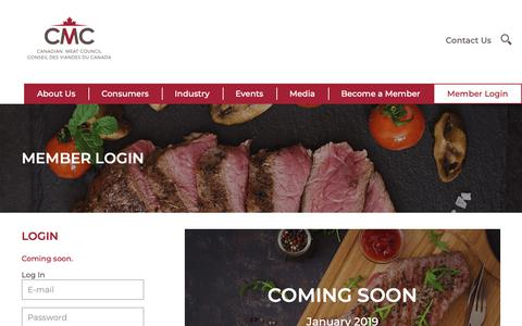 Screenshot of Login Page cmc-cvc.com - Member Login – Canadian Meat Council – Good for you. Good for Canada. - captured Dec. 13, 2018