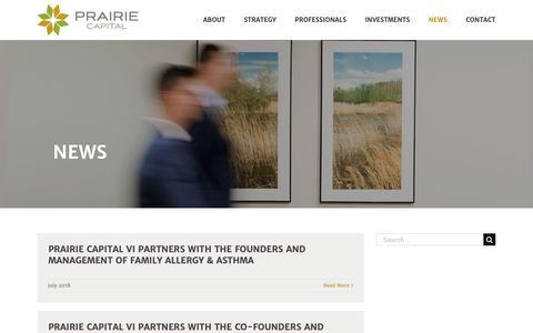 Screenshot of Press Page prairie-capital.com - News | Prairie Capital - captured Sept. 29, 2018