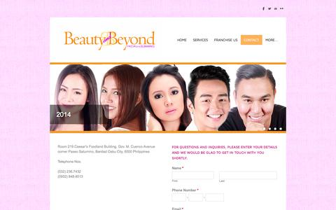 Screenshot of Contact Page beautyandbeyondphilippines.com - Contact  - Beauty and Beyond Aesthetic Clinic - captured Oct. 5, 2014