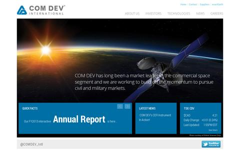 Screenshot of Home Page comdevintl.com - COM DEV International - Leaders in the production of space-qualified passive microwave equipment, specialized electronics and optical subsystems. - captured July 11, 2014