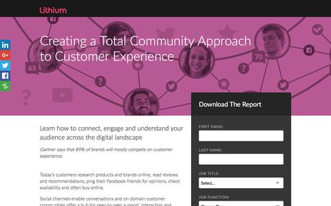 Screenshot of Landing Page lithium.com - Creating a Total Community Approach  to Customer Experience | Lithium Resources - captured Dec. 24, 2016
