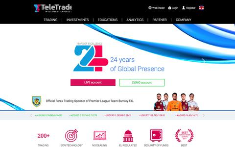 Screenshot of Home Page teletrade.eu - 24 years of remarkable global presence - TeleTrade | Official Forex Trading Sponsor of Burnley F.C. - captured April 24, 2018