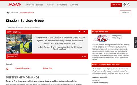 Screenshot of Case Studies Page avaya.com - UK Security Business Cuts Travel & Costs with Avaya Video Conferencing - captured May 3, 2018
