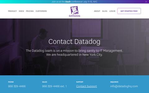 Screenshot of Contact Page datadoghq.com - Contact - captured June 7, 2018
