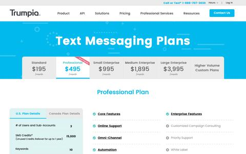 Screenshot of Pricing Page trumpia.com - Text Messaging Plans | Trumpia - captured March 29, 2019