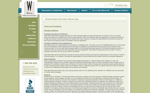 Screenshot of Terms Page westmemorials.com - Terms & Conditions for Cemetery Markers and Headstones – West Memorials - captured Oct. 7, 2014