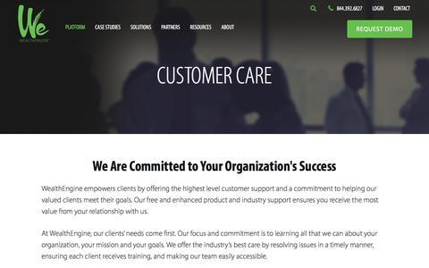 Screenshot of Support Page wealthengine.com - Customer Care - WealthEngine - captured Sept. 15, 2019