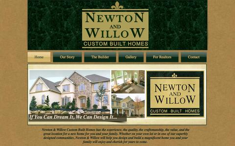 Screenshot of Home Page newtonandwillowhomes.com - Newton and Willow Custom Built Homes - captured Oct. 6, 2014
