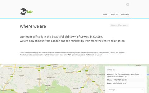 Screenshot of Contact Page playlab.co.uk - Where we are | Playlab - captured Oct. 3, 2014