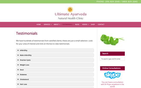 Screenshot of Testimonials Page ayurvedic.co.nz - Testimonials - captured May 13, 2019