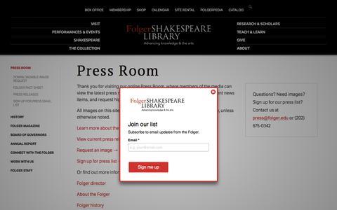Screenshot of Press Page folger.edu - Press Room | Folger Shakespeare Library - captured July 2, 2018