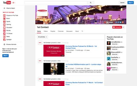 Screenshot of YouTube Page youtube.com - 1st Contact  - YouTube - captured Oct. 27, 2014