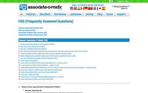 Screenshot of FAQ Page associate-o-matic.com - Associate-O-Matic   FAQ - captured Sept. 23, 2014