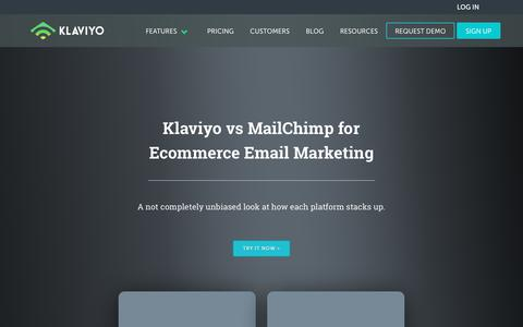 Screenshot of klaviyo.com - Klaviyo vs Mailchimp - An Ecommerce Email Marketing Comparison - captured Sept. 15, 2017