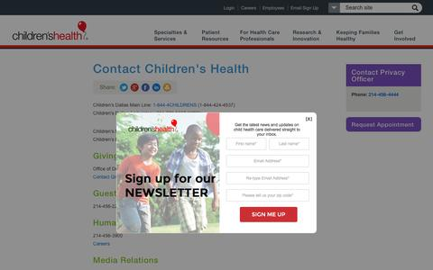 Screenshot of Contact Page childrens.com - Contact Children's Health - captured July 14, 2016