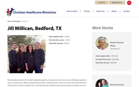 Screenshot of Testimonials Page chministries.org - Bedford, TX              | Christian Healthcare Ministries - captured May 16, 2019
