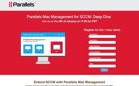 Screenshot of Landing Page parallels.com - Parallels Mac Management for SCCM: Deep Dive - captured April 21, 2018
