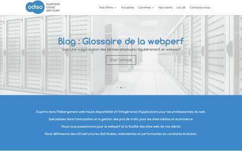 Screenshot of Home Page odiso.com - Odiso cloud business services - hébergeur web haute-disponibilité - captured July 27, 2016