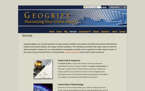 Screenshot of Services Page geogrify.com - Services | Geogrify - captured Oct. 2, 2014